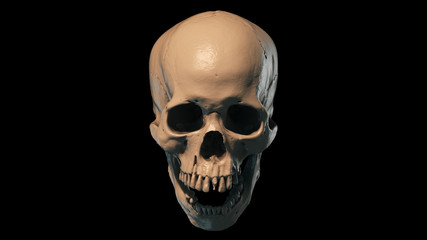 Human skull on Rich Colors a Black Isolated Background. The concept of death, horror. A symbol of spooky Halloween. 3d rendering illustration.