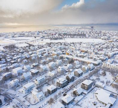 City near shore in winter