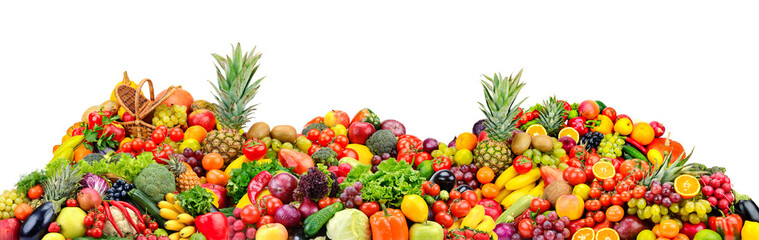Big pile fruits and vegetables isolated on white Wall mural
