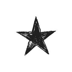 Star icon doodle. Hand drawn sketch. Grunge handmade illustration.