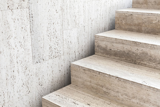 Empty stairway decorated with stone