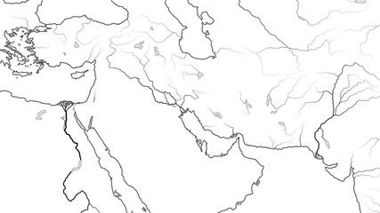 World Map of MIDDLE EAST REGION: Asia Minor, Near East, Levant, Turkey, Armenia, Syria, Iraq, The Emirates, Saudi Arabia, Persian Gulf, Iran, Pakistan. Geographic chart with coastline and main rivers.