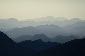mystical mountain layers, unusual wild geography