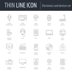 Icons Set of Electronics And Devices. Symbol of Intelligent Thin Line Image Pack. Stroke Pictogram Graphic for Web Design. Quality Outline Vector Symbol Concept Collection. Premium Mono Linear