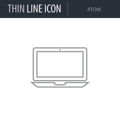 Symbol of Atom. Thin line Icon of Electronics And Devices. Stroke Pictogram Graphic for Web Design. Quality Outline Vector Symbol Concept. Premium Mono Linear Beautiful Plain Laconic Logo