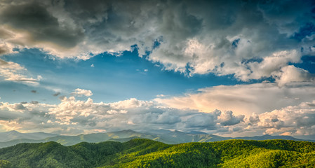 Stunning spring view of the north mountains from Black Mountain, NC, USA.