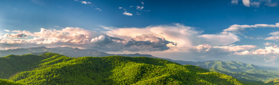 Stunning panoramic view of the north mountains from Black Mountain, NC, USA.