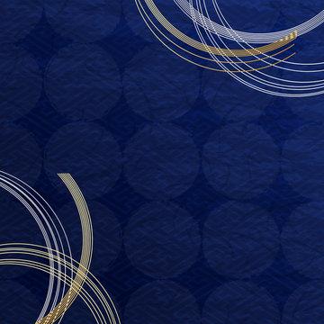 藍色の和風背景 水引の装飾