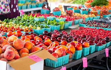 Peaches and Other Fruit at an Outdoor Market Wall mural