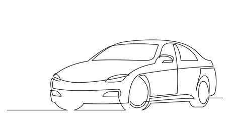 continuous line drawing of modern beautiful car