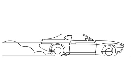 continuous line drawing of retro sport car driving fast