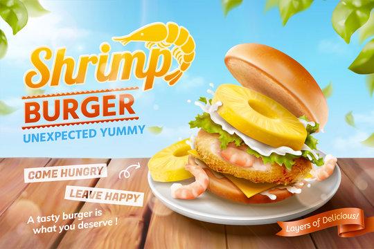 Shrimp burger ads