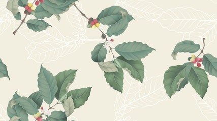 Coffee tree seamless pattern, branch of coffee tree on light yellow background, vintage style