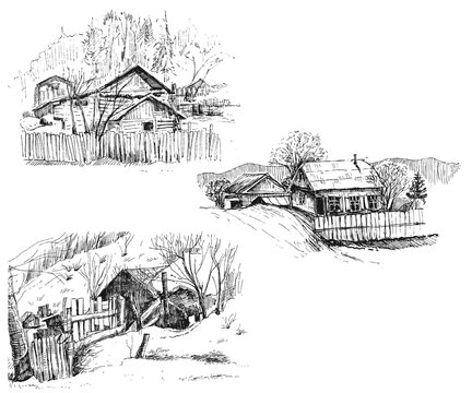 Detailed hand drawn ink black and white illustration set of farm house, tree. sketch. Vector eps 8