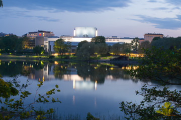 Nightly view of national opera of Finland from the other side of bay of Töölö, Helsinki