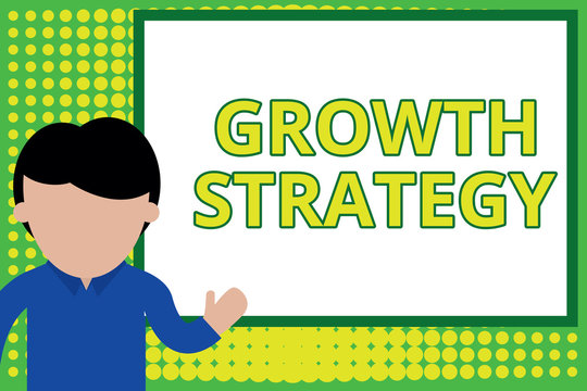 Word writing text Growth Strategy. Business photo showcasing Strategy aimed at winning larger market share in shortterm Young man standing in front whiteboard pointing to project. photo Art