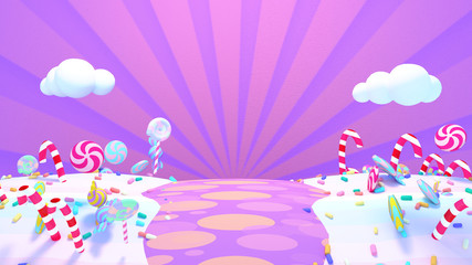 Sweet candy world. 3d rendering picture.