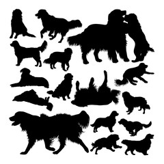 Golden retriever dog animal silhouettes. Good use for symbol, logo, web icon, mascot, sign, or any design you want.