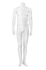 Front view of male mannequin isolated on white