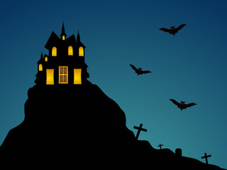 Celebration of Halloween party night with haunted house.