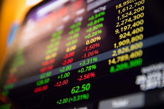 close-up stock market screen showing Tiker running