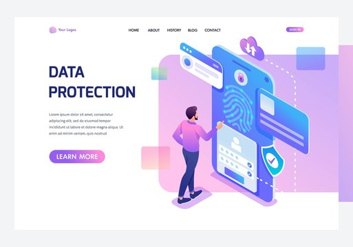 Isometric young man with mobile phone, data protection, biometric lock. Template landing page