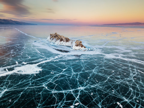 Elenka Island on Lake Baikal in winter. Aerial view.
