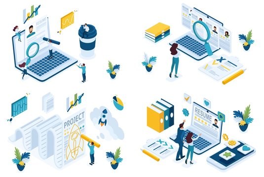 Set isometric concept search for employees HP Manager recruiter to create a joint project. For create website and applications