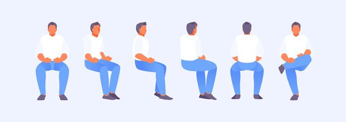 Fototapeta Sitting man from different sides