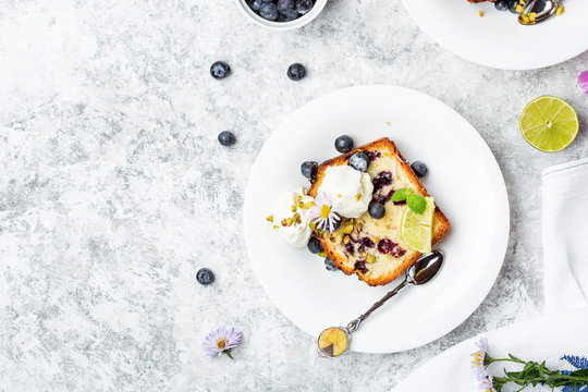 Homemade fresh blueberry butter cake with lime
