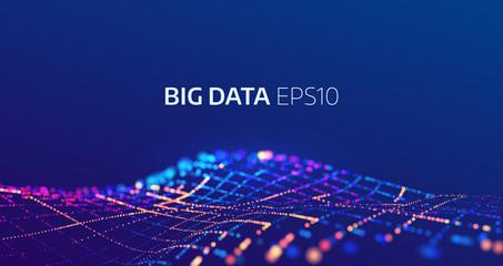 Big data abstract vector background. Bigdata code visualization Wall mural