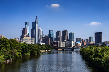 The Philadelphia City center with the Schuylkill River