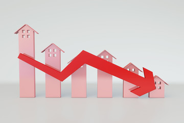 Real estate economy, housing prices fall, bear market, downturn Wall mural