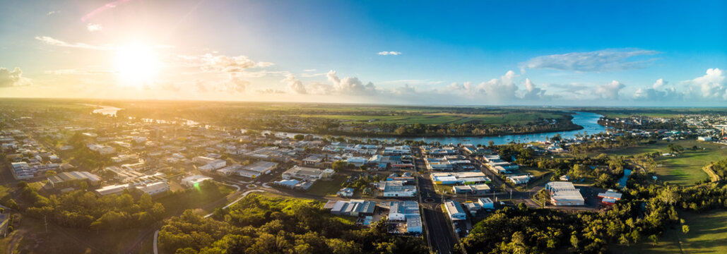 Aerial drone view of Bundaberg, Queensland, Australia