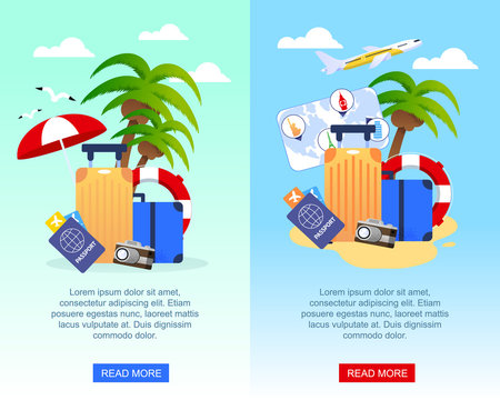 Travel Flat Banners Set for Mobile Application