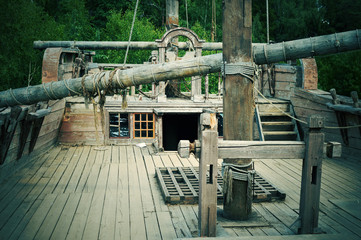 deck of the old wooden ship