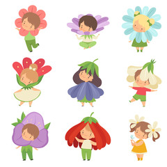 Cute Little Kids Wearing Flowers Costumes Set, Adorable Boys and Girls Cartoon Characters in Carnival Clothes Vector Illustration