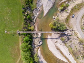 Suspended bridge from above near Kardzhali city in Bulgaria