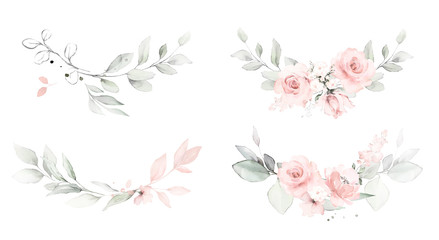 Fototapeta Set watercolor arrangements with roses. collection garden pink flowers, leaves, branches, Botanic  illustration isolated on white background. obraz
