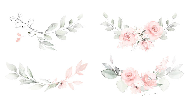 Set watercolor arrangements with roses. collection garden pink flowers, leaves, branches, Botanic  illustration isolated on white background.