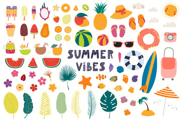 Big summer set with fruits, drinks, pool floats, seashells, palm leaves. Isolated objects on white background. Hand drawn vector illustration. Scandinavian style flat design. Concept for kids print.