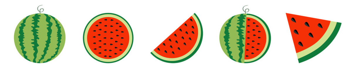 Watermelon icon set line. Whole ripe green stem. Slice cut half seeds. Triangle. Green Red round fruit berry flesh peel. Healthy food. Sweet water melon. Tropical fruits. White background.