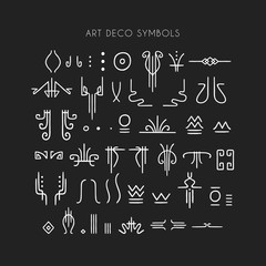 Vector set of line art symbols for logo design and lettering in Art Deco style