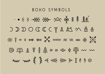 Vector set of line art symbols for logo design and lettering in boho style
