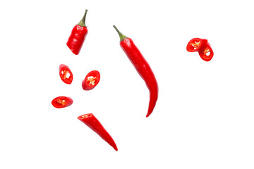 In de dag Hot chili peppers Red hot chili peppers isolated on white background