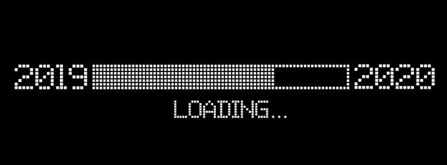pixelated progress bar year 2019 to 2020 loading vector illustration Wall mural