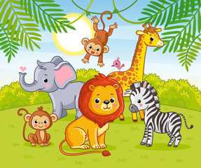 Cute African animals in the jungle. Animals in the green jungle