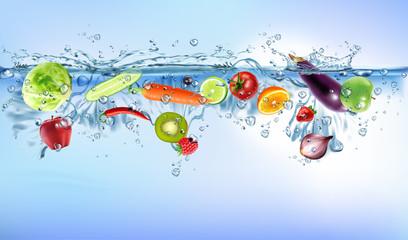 Photo sur Plexiglas Eclaboussures d eau fresh vegetables splashing into blue clear water splash healthy food diet freshness concept isolated white background.