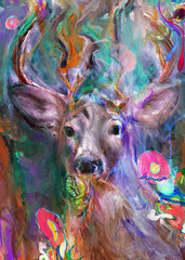 Beautiful deer looking with abstract flowers