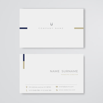 White business card minimal clean design vector template